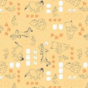 Camelot Design Studios Winnie The Pooh - 4598 - Winnie The Pooh Characters on Chamomile Yellow   - 8543010 3 - Cotton Fabric